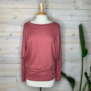 LOVE IN Pink Fleece Top with Dolman Sleeves